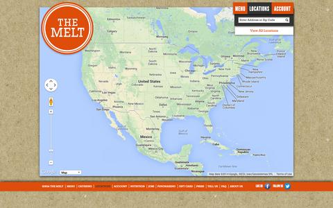 Screenshot of Locations Page themelt.com - The Melt | Locations - captured Sept. 17, 2014