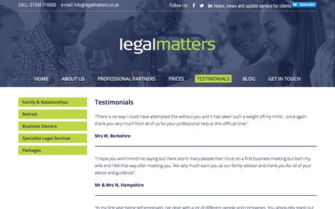 Screenshot of Testimonials Page legalmatters.co.uk - Legal service Providers UK | Testimonials at Legal Matters - captured July 25, 2018