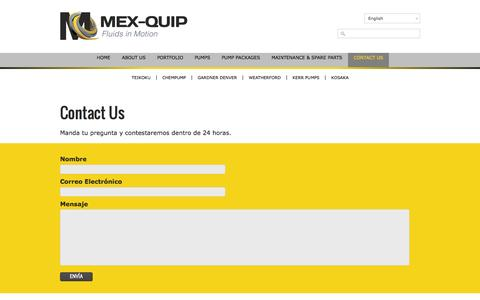 Screenshot of Contact Page mexquip.com - Contact Us - MEX-QUIP - captured Oct. 27, 2014