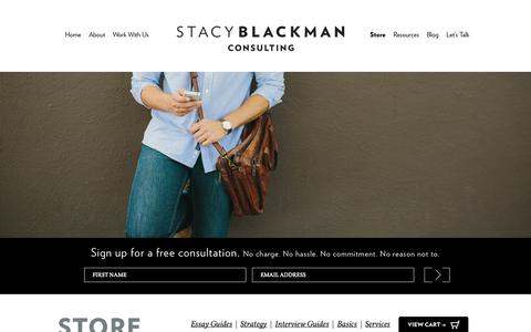Screenshot of Services Page stacyblackman.com - MBA Admission Consulting Store | Stacy Blackman Consulting - MBA Admissions Consulting - captured Sept. 23, 2014