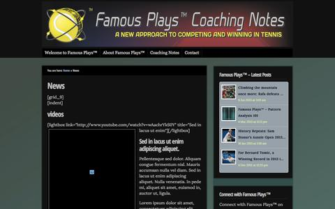 Screenshot of Press Page famousplays.com.au - News  : Famous Plays™ Coaching Notes Tennis Blog - captured Oct. 5, 2014