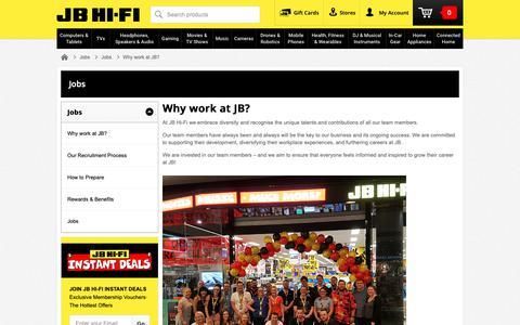 Screenshot of Jobs Page jbhifi.com.au - Why work at JB? | JB Hi-Fi - captured Oct. 19, 2018