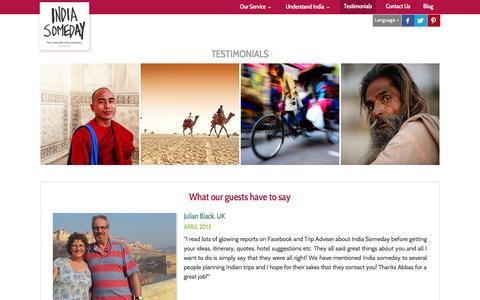 Screenshot of indiasomeday.com - Guest Reviews and Ratings | India Someday Reviews | India Someday happy travellers - captured Oct. 5, 2015