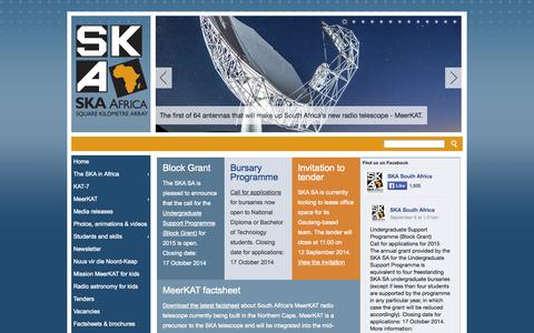 Screenshot of Home Page ska.ac.za - Square Kilometre Array (SKA) Africa - captured Sept. 19, 2014