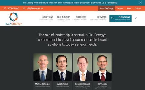 Screenshot of Team Page flexenergy.com - Management - FlexEnergy - captured Nov. 25, 2016