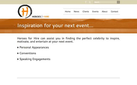 Screenshot of Home Page heroesforhire.info - Heroes for Hire - Heroes for Hire can assist you in finding the perfect celebrity to inspire, motive, and entertain at your event. - captured Sept. 30, 2014