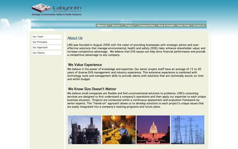 Screenshot of About Page lmgweb.com - Labyrinth Management Group, Inc - About Us - captured Oct. 1, 2014