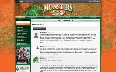 Screenshot of Testimonials Page monsterslax.com - TESTIMONIALS - captured Oct. 23, 2018