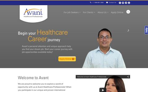Screenshot of Home Page avanthealthcare.com - Avant Healthcare  RN, PT & OT Staffing Experts | Avant Healthcare Professionals - captured Feb. 21, 2016