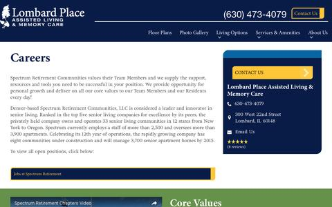 Screenshot of Jobs Page spectrumretirement.com - Careers At Lombard Place Assisted Living & Memory Care - captured Jan. 23, 2017