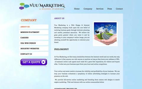 Screenshot of About Page vuumarketing.com - An Internet Marketing & Web Design Company - captured Oct. 26, 2014