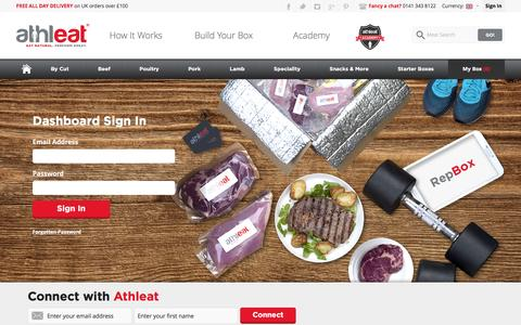 Screenshot of Login Page athleat.co.uk - Dashboard Sign In - captured Feb. 6, 2016