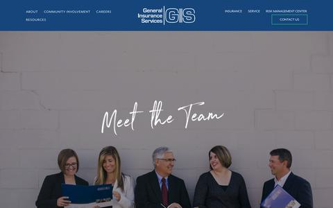 Screenshot of Team Page genins.com - Our Team — General Insurance Services - captured Sept. 27, 2018