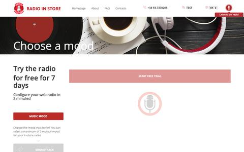 Screenshot of Trial Page webradioinstore.it - Free trial | Webradio in Store - music for your brand - captured Oct. 20, 2018