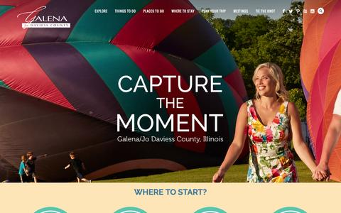 Screenshot of Home Page galena.org - Galena/Jo Daviess County | The Midwest's Premier Destination Getaway - captured Aug. 27, 2016