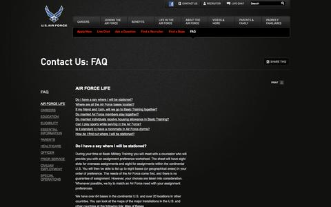Screenshot of FAQ Page airforce.com - Contact Us: Frequently Asked Questions - airforce.com - captured Sept. 22, 2014