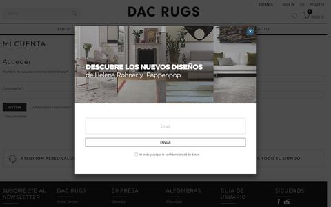 Screenshot of Login Page dacrugs.com - Mi Cuenta - Alfombras DAC - captured Feb. 2, 2018
