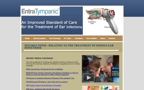 Screenshot of Press Page entratympanic.com - Notable News - captured Sept. 16, 2014