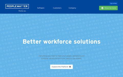 Screenshot of Home Page peoplematter.com - Complete Workforce Solutions—Powerful, All-in-One Software - captured July 11, 2014