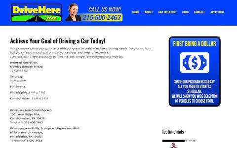 Screenshot of Contact Page drivehere.com - Contact | DriveHere.com - captured Nov. 3, 2014