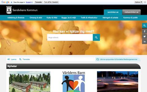 Screenshot of Home Page sandviken.se - Startsida - Sandvikens kommun - captured Oct. 4, 2017