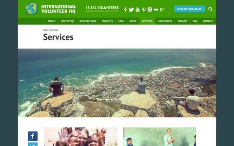 Screenshot of Services Page volunteerhq.org - Volunteer Abroad Services | International Volunteer HQ - captured Jan. 27, 2016