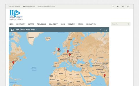 Screenshot of Locations Page ippe.com - International Process Plants Office Locations - IPP - captured Nov. 26, 2016