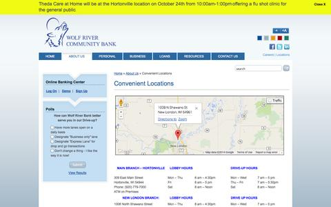 Screenshot of About Page Locations Page wolfriverbank.com - Convenient Locations | Wolf River Community Bank - captured Oct. 26, 2014