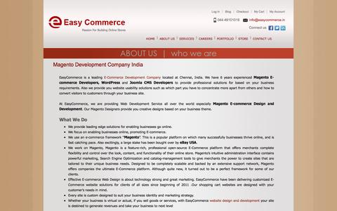 Screenshot of About Page easycommerce.in - Magento Development India   Magento E-Commerce Developers   SEO Services Chennai - captured Sept. 24, 2014