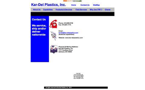 Screenshot of Contact Page kar-delplastics.com - KarDel Contact Page - captured Oct. 6, 2014