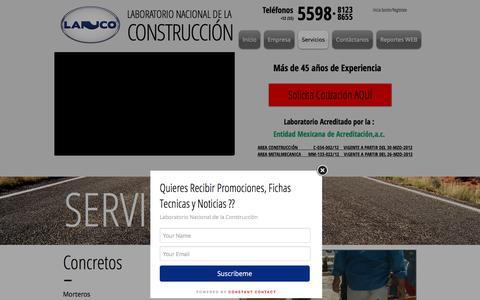 Screenshot of Menu Page lanco.com.mx - Laboratorio Materiales, Radiografias soldadura, mecanica de suelos | Servicios - captured Sept. 26, 2018