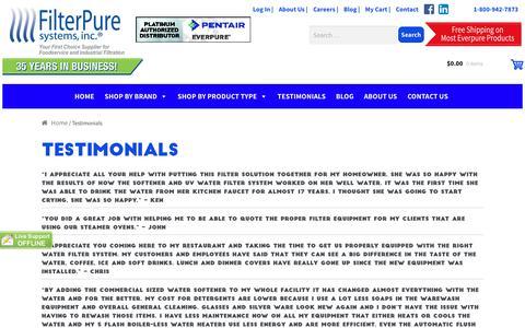 Screenshot of Testimonials Page filterpure.com - Testimonials - Filter Pure - captured Oct. 13, 2017
