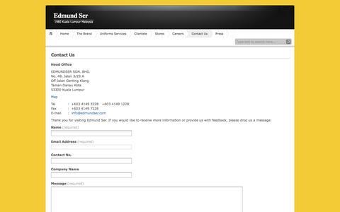 Screenshot of Contact Page edmundser.com - Contact Us | Edmund Ser - captured July 11, 2016