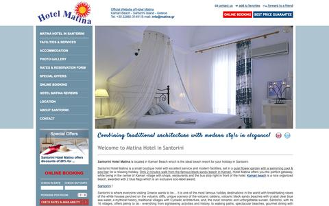 Screenshot of Home Page hotel-matina.com - Matina Hotel in Santorini | Matina Hotel Kamari Beach Santorini Greece - captured Sept. 30, 2018