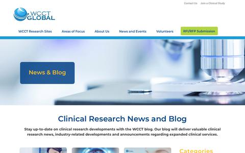 Screenshot of Blog wcct.com - Clinical Research News and Blog | WCCT - captured April 11, 2019