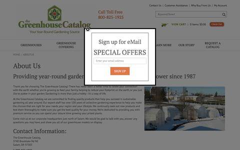 Screenshot of About Page greenhousecatalog.com - Greenhouse Kits and Greenhouse and Garden Supplies - captured July 2, 2018