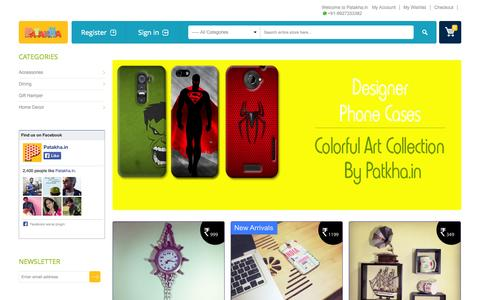 Screenshot of Home Page patakha.in - Buy Designer & Cool Products Online at PATAKHA - captured Sept. 24, 2014