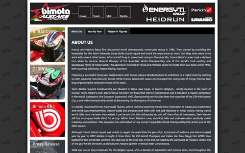 Screenshot of About Page alstare.com - Bimota Alstare Racing - About Us - captured Oct. 26, 2014