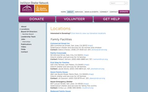 Screenshot of Locations Page ivsn.org - Locations | InnVision Shelter Network - captured Oct. 4, 2014