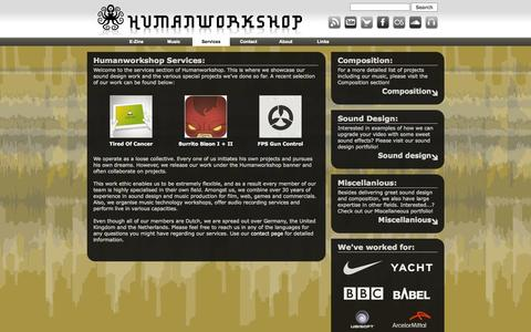 Screenshot of Services Page humanworkshop.com - Services || Humanworkshop - captured Sept. 19, 2014