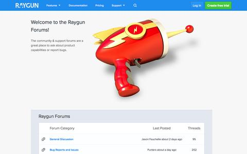 Screenshot of Support Page raygun.io - Support forums and feature requests for Raygun - raygun.io - captured Nov. 2, 2014