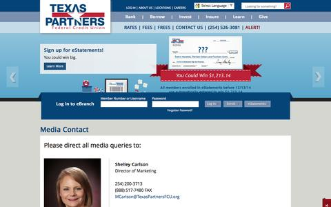 Screenshot of Press Page texaspartnersfcu.org - Media Contact - captured Oct. 26, 2014