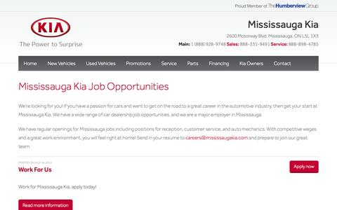 Screenshot of Jobs Page mississaugakia.com - Employment Opportunities at Mississauga Kia - captured Oct. 7, 2014