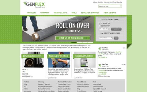 Screenshot of Home Page genflex.com - GenFlex Roofing Systems | Above All - captured Jan. 23, 2015