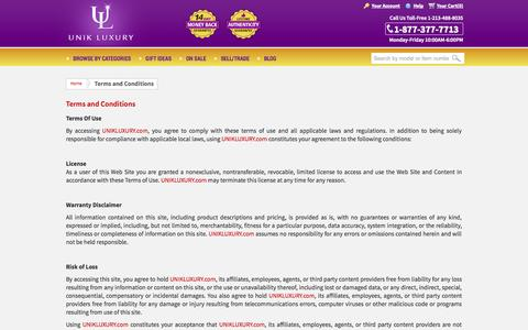 Screenshot of Terms Page unikluxury.com - Terms and Conditions - captured Oct. 2, 2014