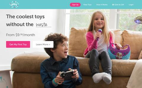 Screenshot of Home Page pley.com - Pley | Rent the coolest toys including LEGO®, American Girl and other amazing toys - captured Feb. 17, 2016