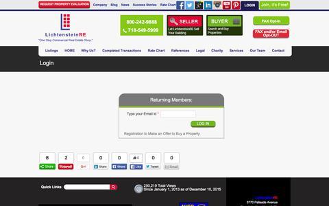 Screenshot of Login Page lichtensteinre.com - Login - LichtensteinRE - captured Dec. 9, 2015