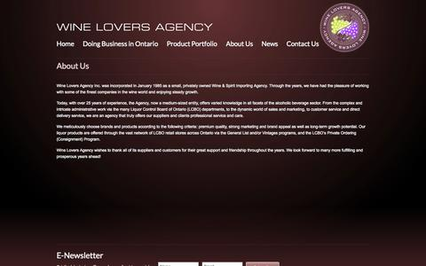 Screenshot of About Page wineloversagency.com - About Wine Lovers Agency - captured Oct. 26, 2014