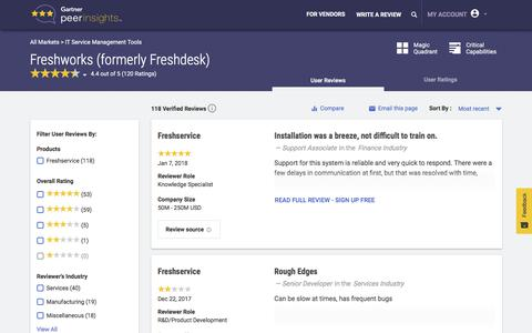 Freshworks (formerly Freshdesk) IT Service Support Management (ITSSM) Software Reviews