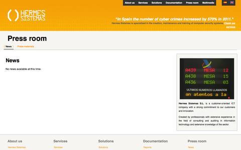Screenshot of Press Page hermessistemas.com - News | Hermes Sistemas S.L. - captured Oct. 2, 2014